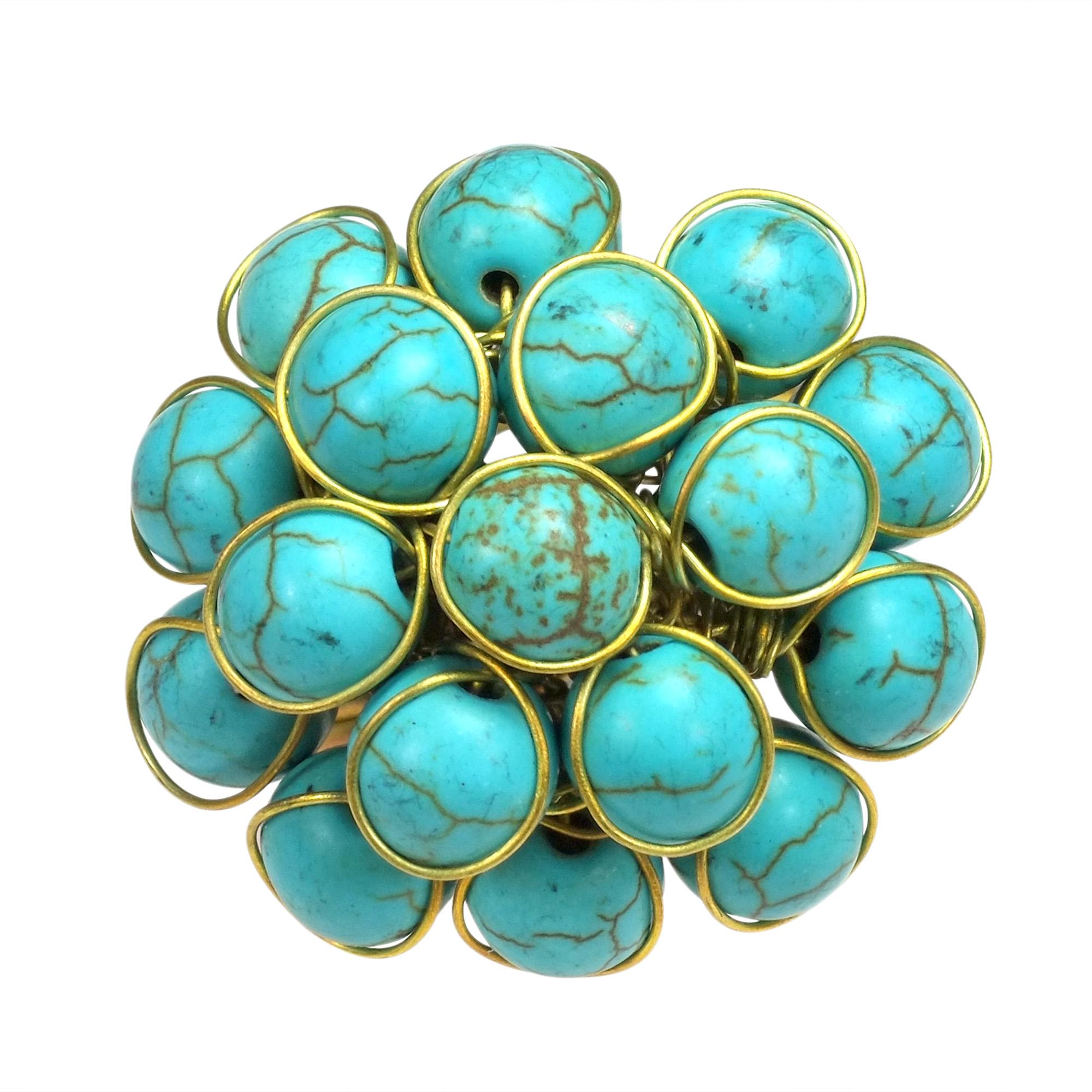 Unique Handmade Front Cluster Blue Stone Organic Ring - AeraVida