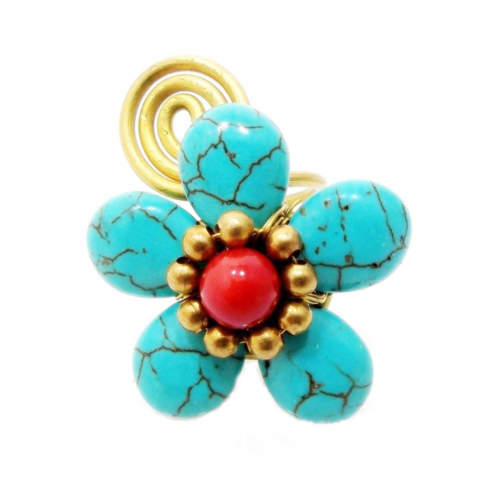 Amazing Handmade Blue Turquoise Flower Brass Wire Wrap Statement ...