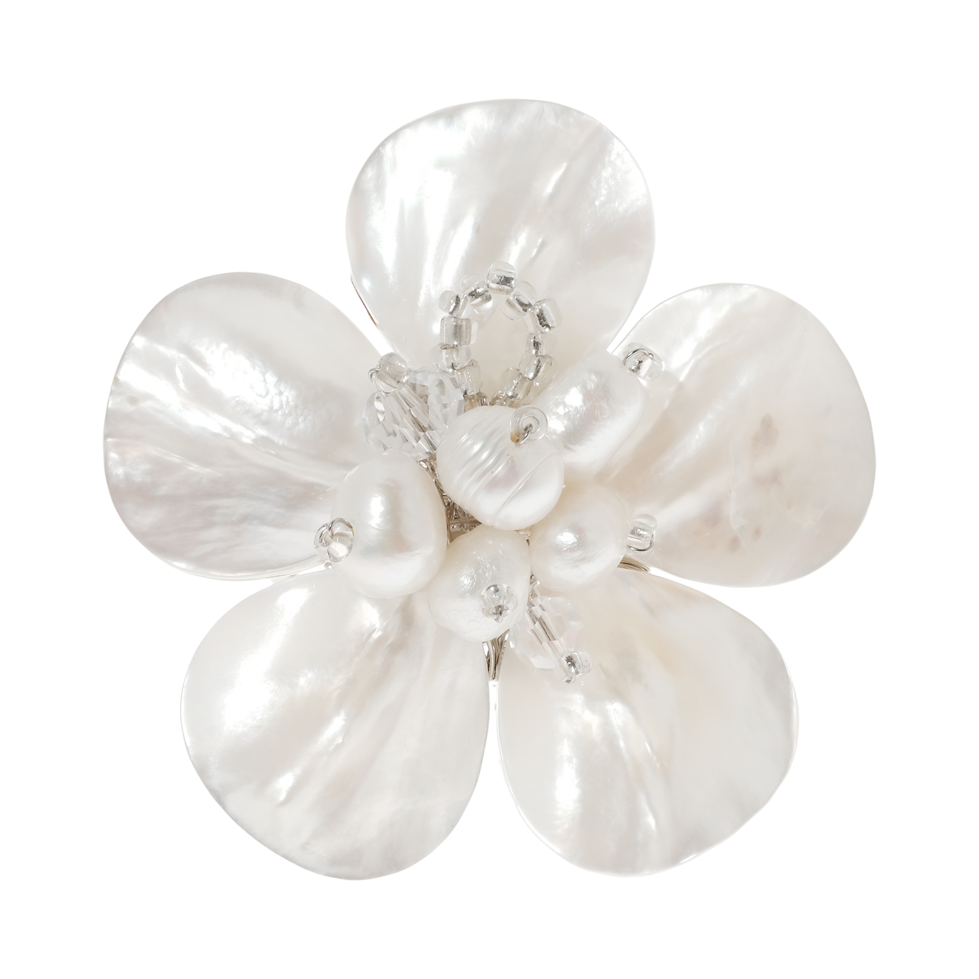 Beautiful Mix Of Shell Crystal Pearl White Tropical Flower