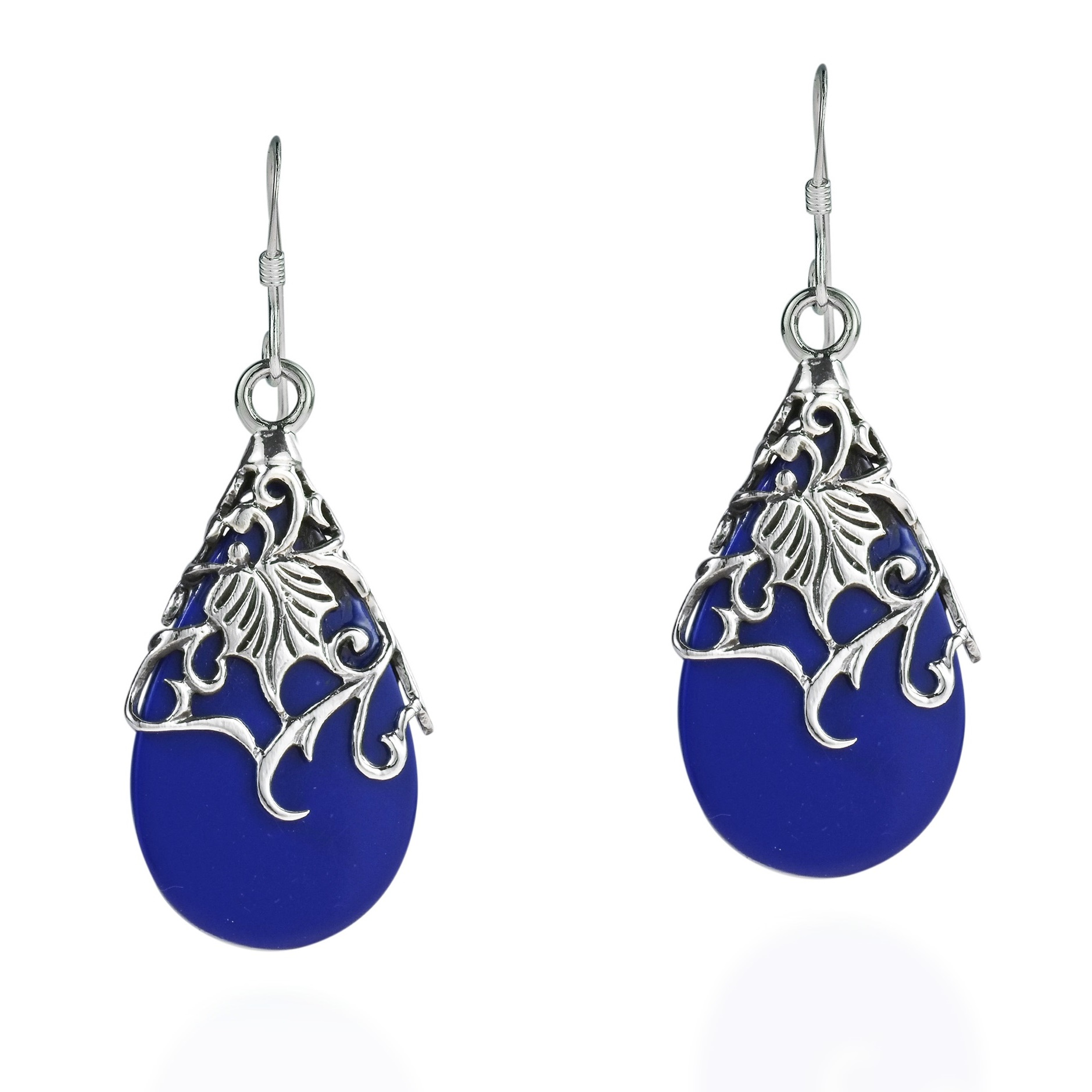 floral vine ornate teardrop blue lapis 925 silver earrings