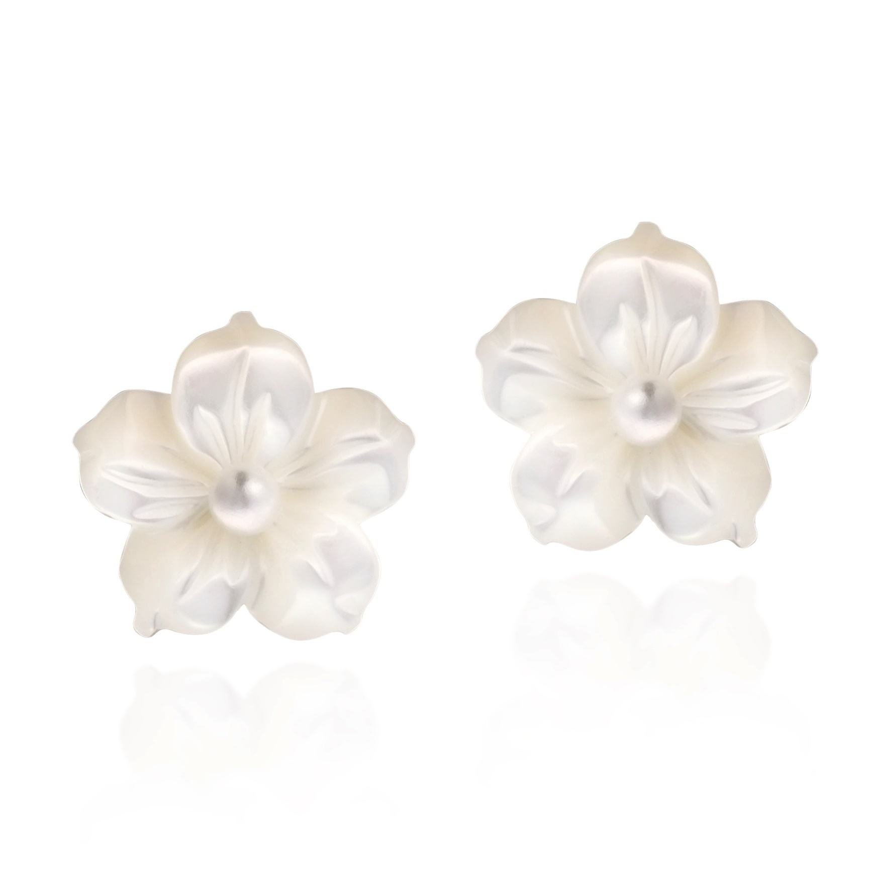 Flower Of New Beginning Mother Pearl Plumeria 925 Silver Earrings Product