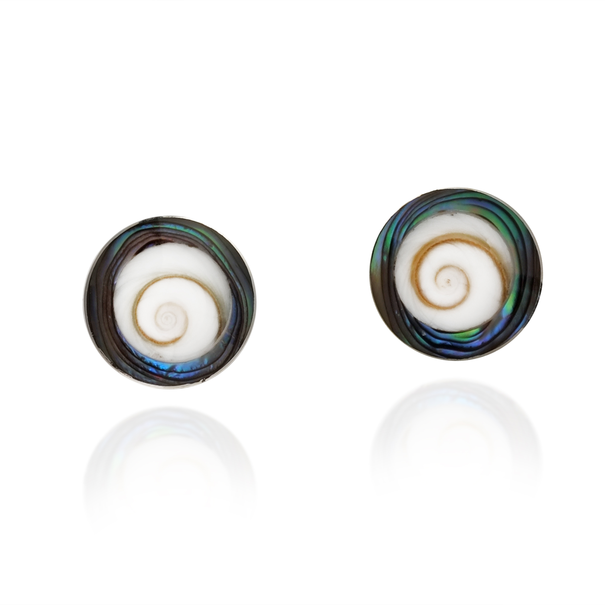 abalone jewelry in sunburst gallery house stud earrings harlow metallic lyst of