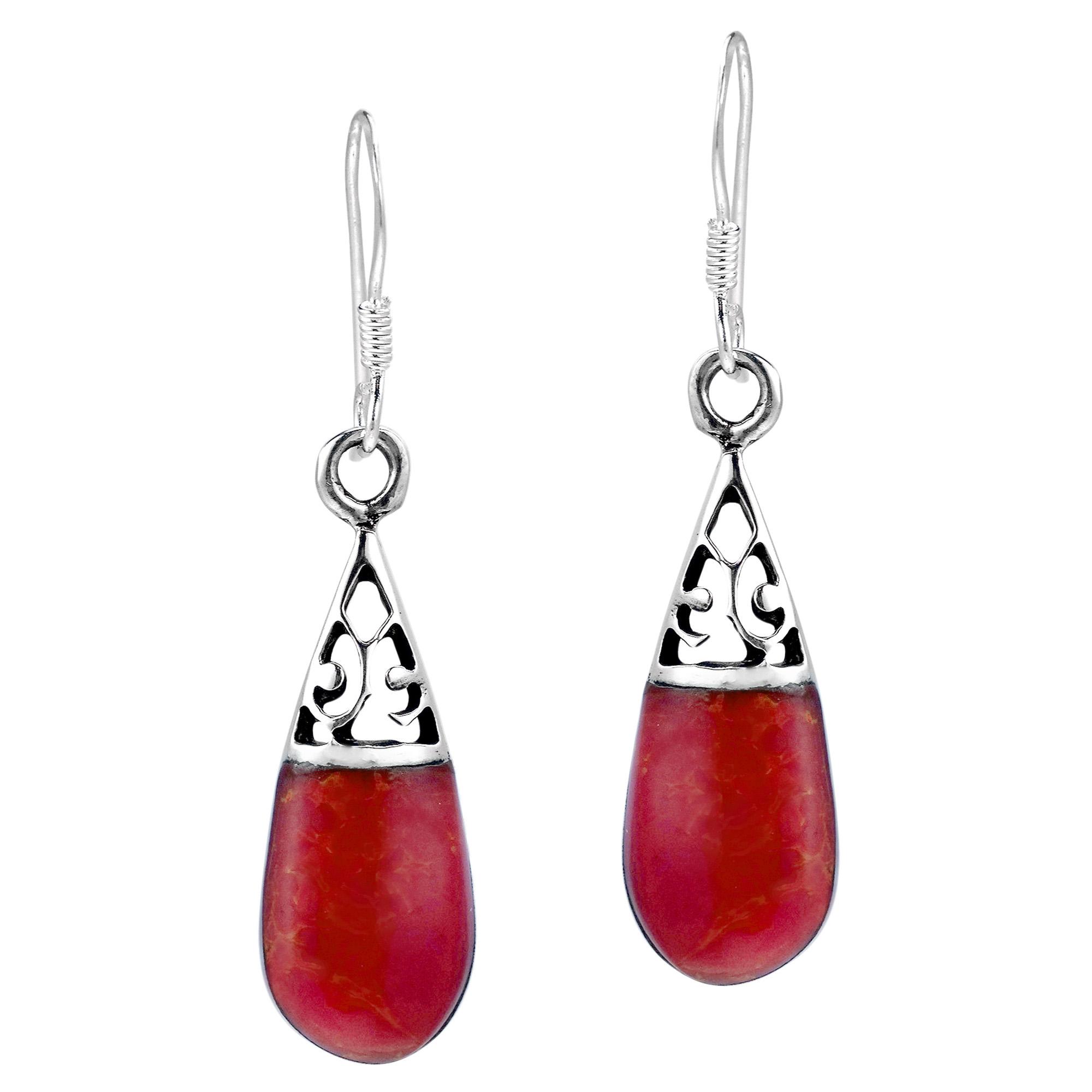 1436b8e62 Filigree Swirl Teardrop Red Coral Inlay .925 Silver Dangle Earrings ...