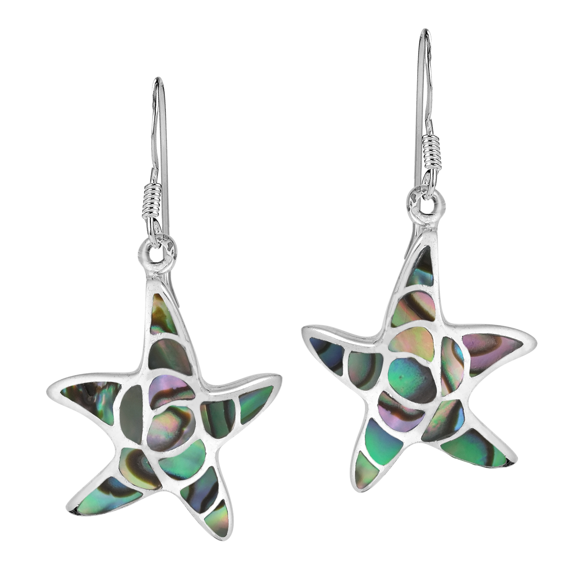Eammano From Thailand Handcrafted This Exquisite Sterling Silver Earring Set The Earrings Feature Starfish Inlaid With S Or Stone