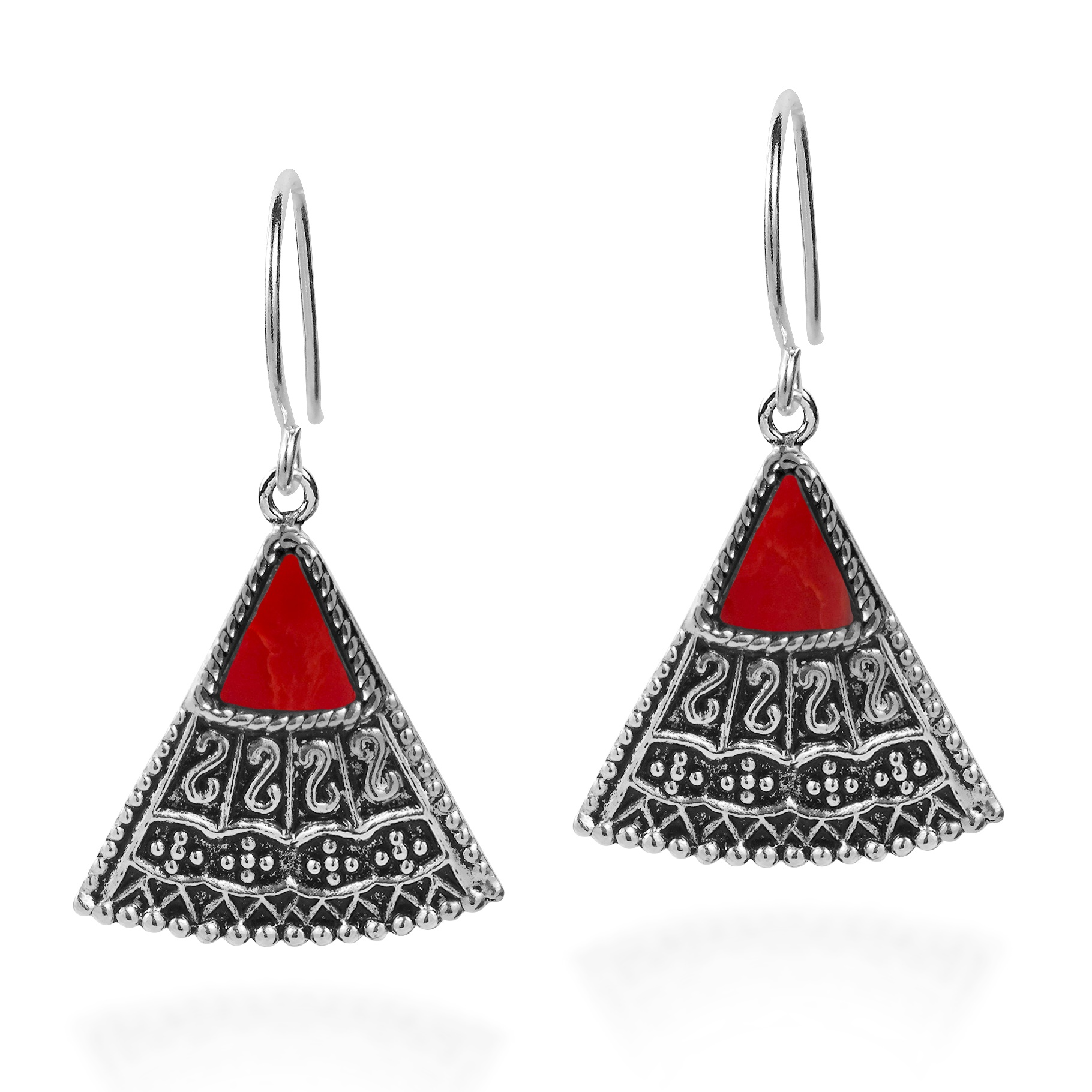 Triangle Earrings: Balinese Art Triangle Shape Red Coral Sterling Silver