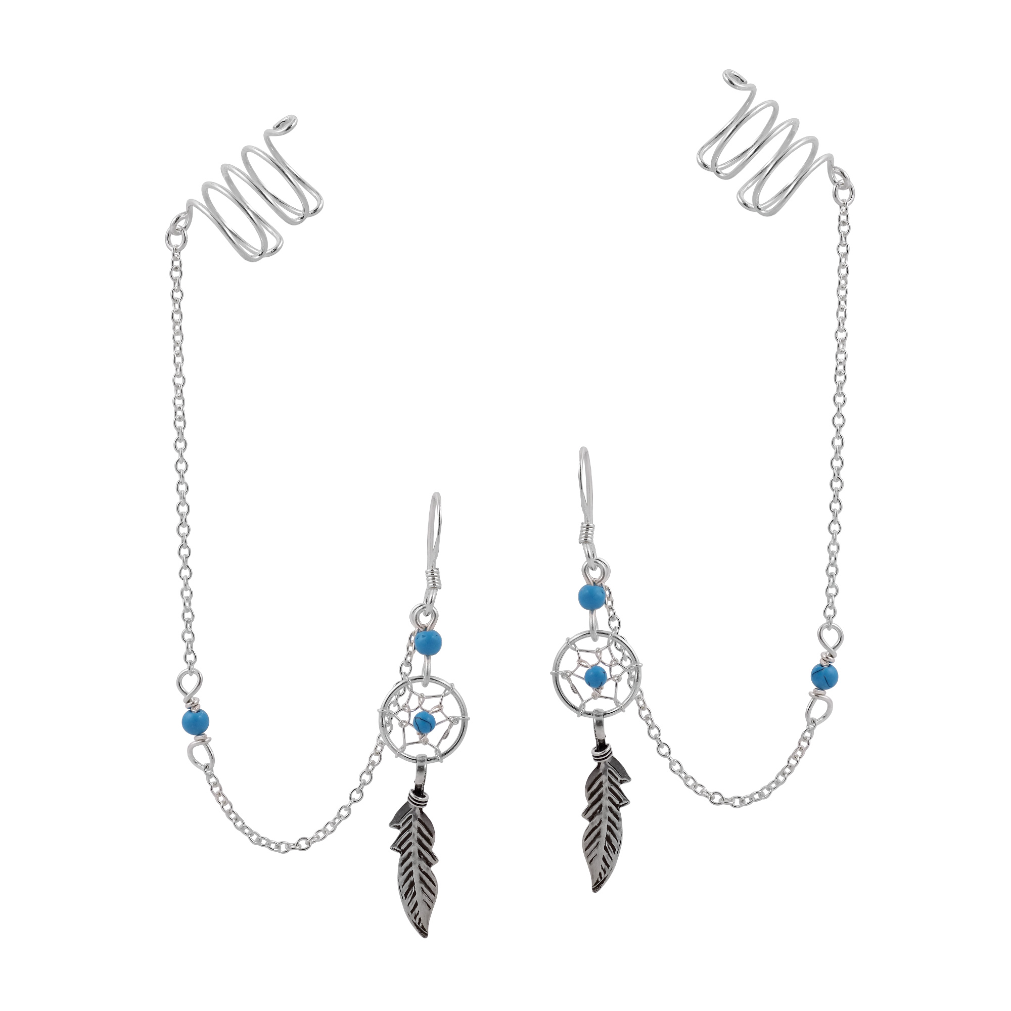 Dream Catcher Ear Cuff Dream Catcher Chain Blue Turquoise Sterling Silver Dangle with Ear 27