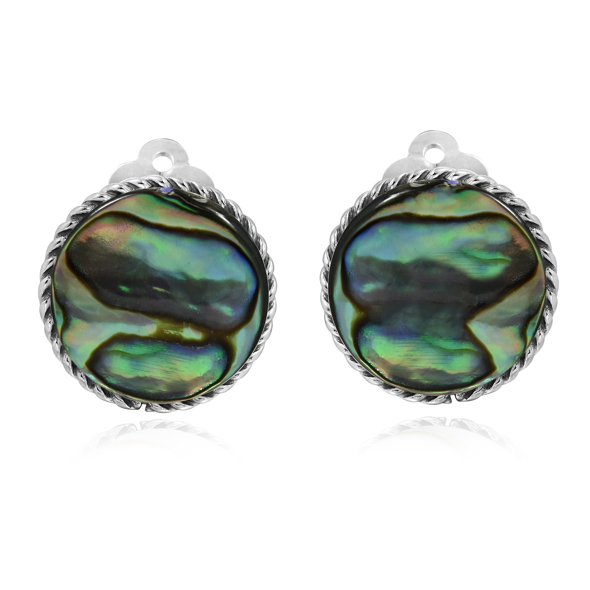 just in for time earrings pin stud shell post gold abalone beach the