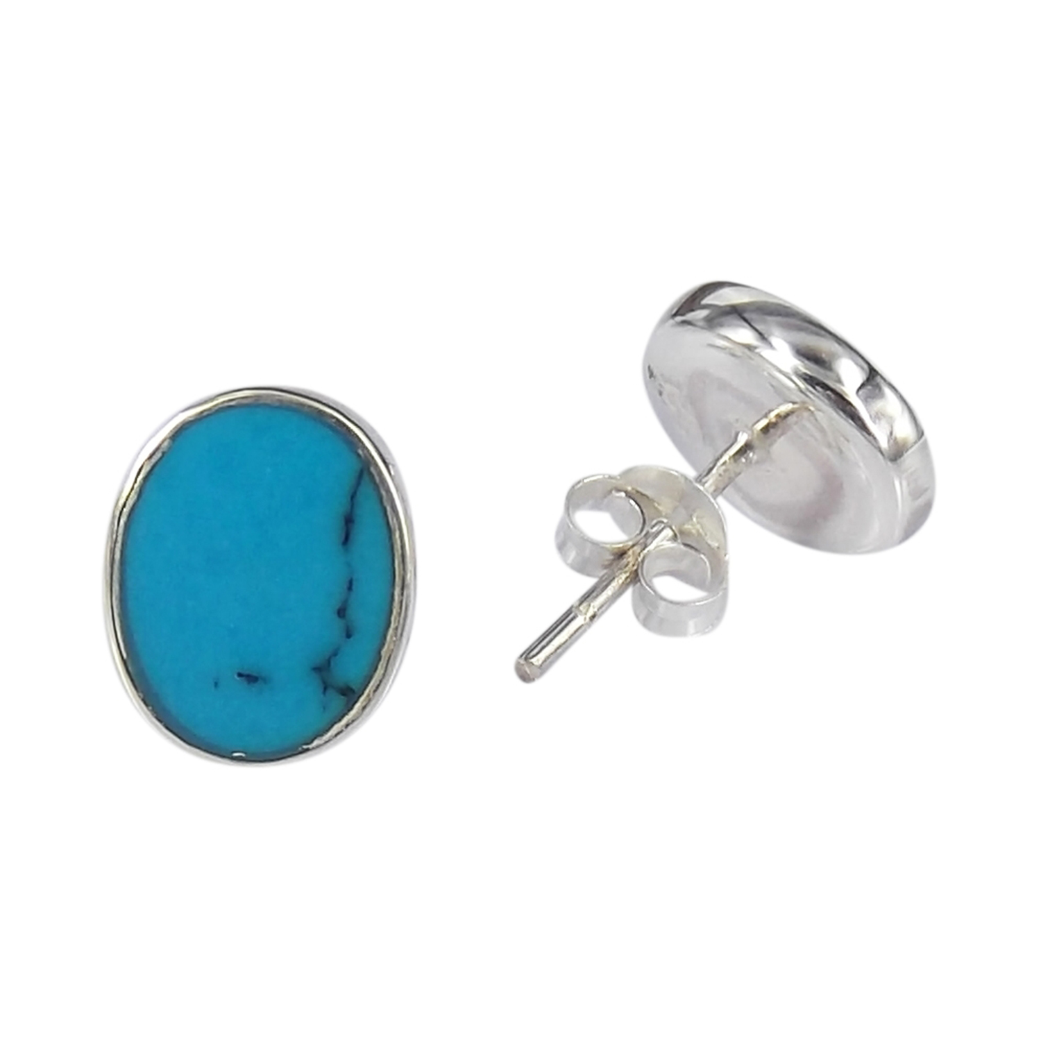 Small Blue Earrings: Classy Small Oval Blue Turquoise .925 Silver Post Earrings