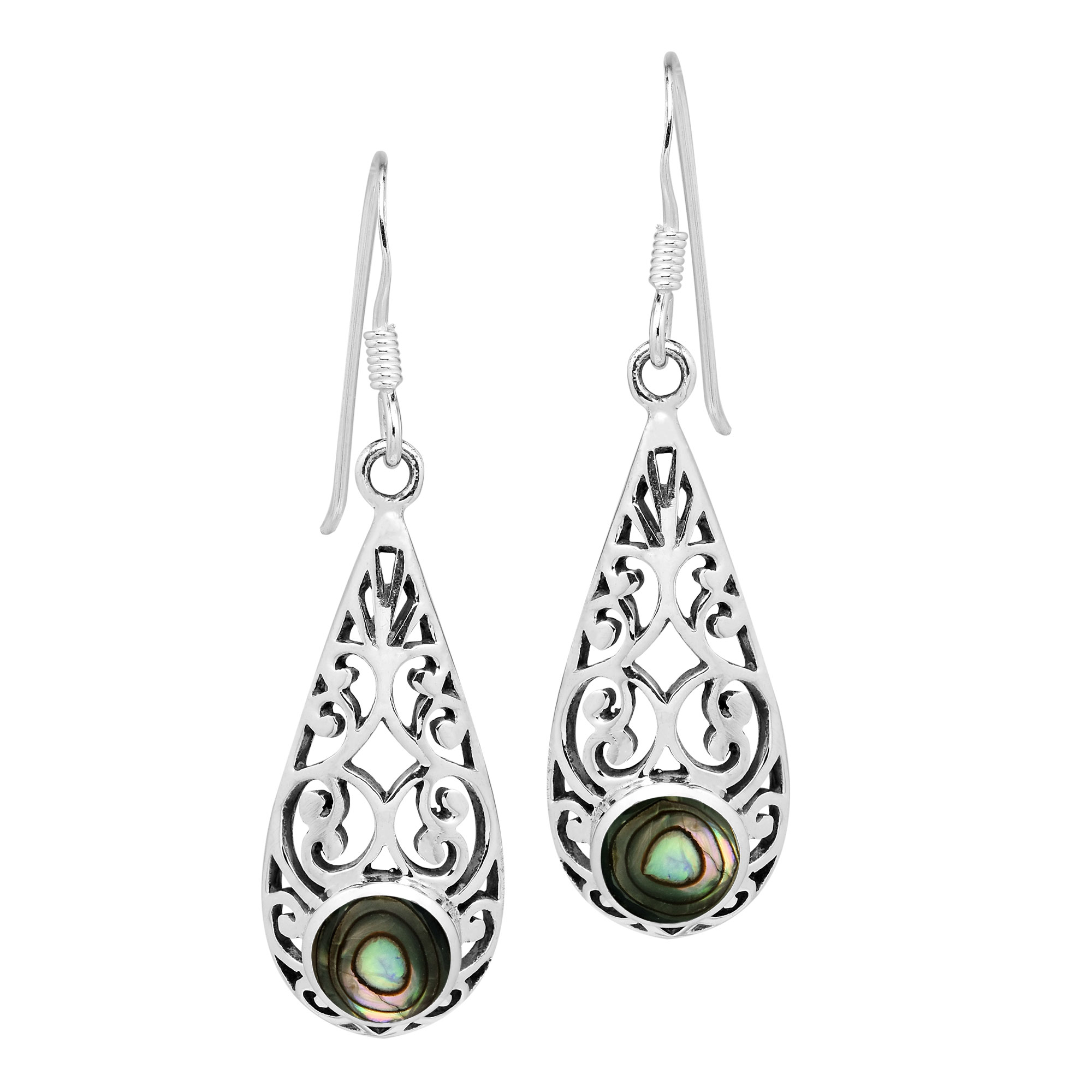 2118542d6 This elegant pair of dangle earrings features an intricate vine of sterling  silver that surrounds a vibrant teardrop shaped accent made from either  shell or ...