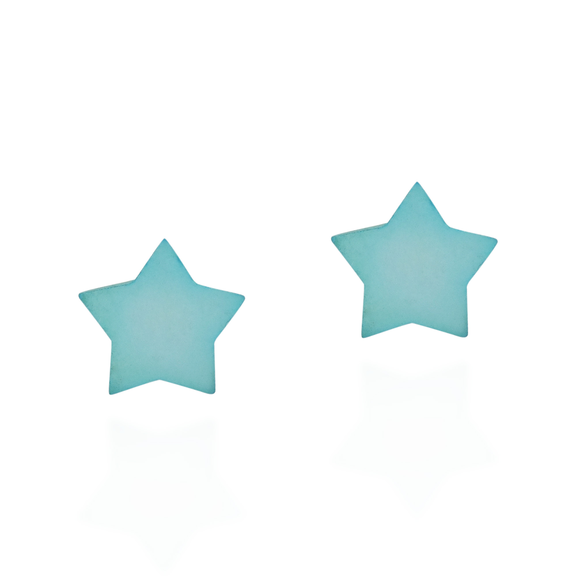 Pee Colored Star S 925 Silver Stud Earrings