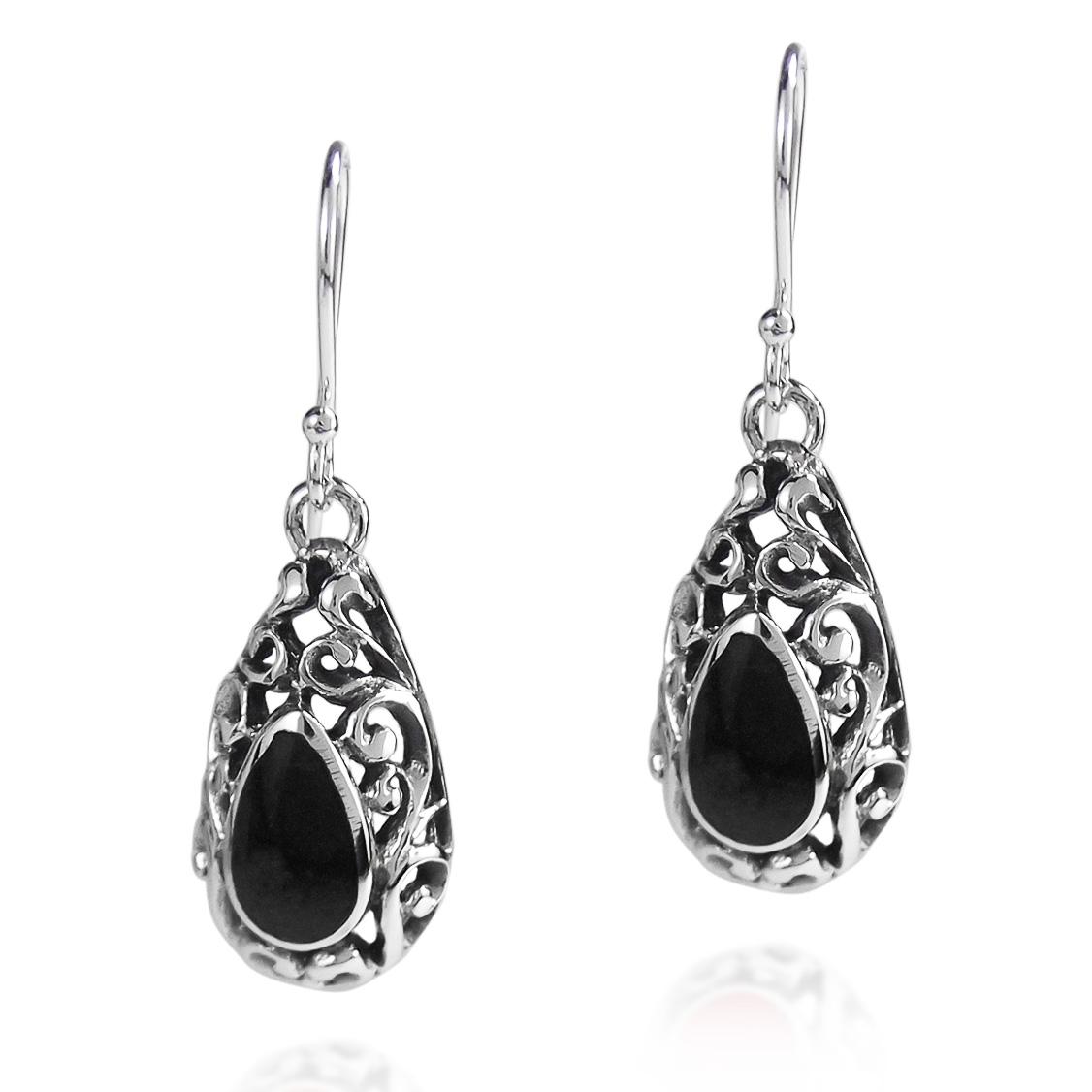 Black Stone Earrings: Black Onyx Filigree Tear Drop .925 Silver Earrings
