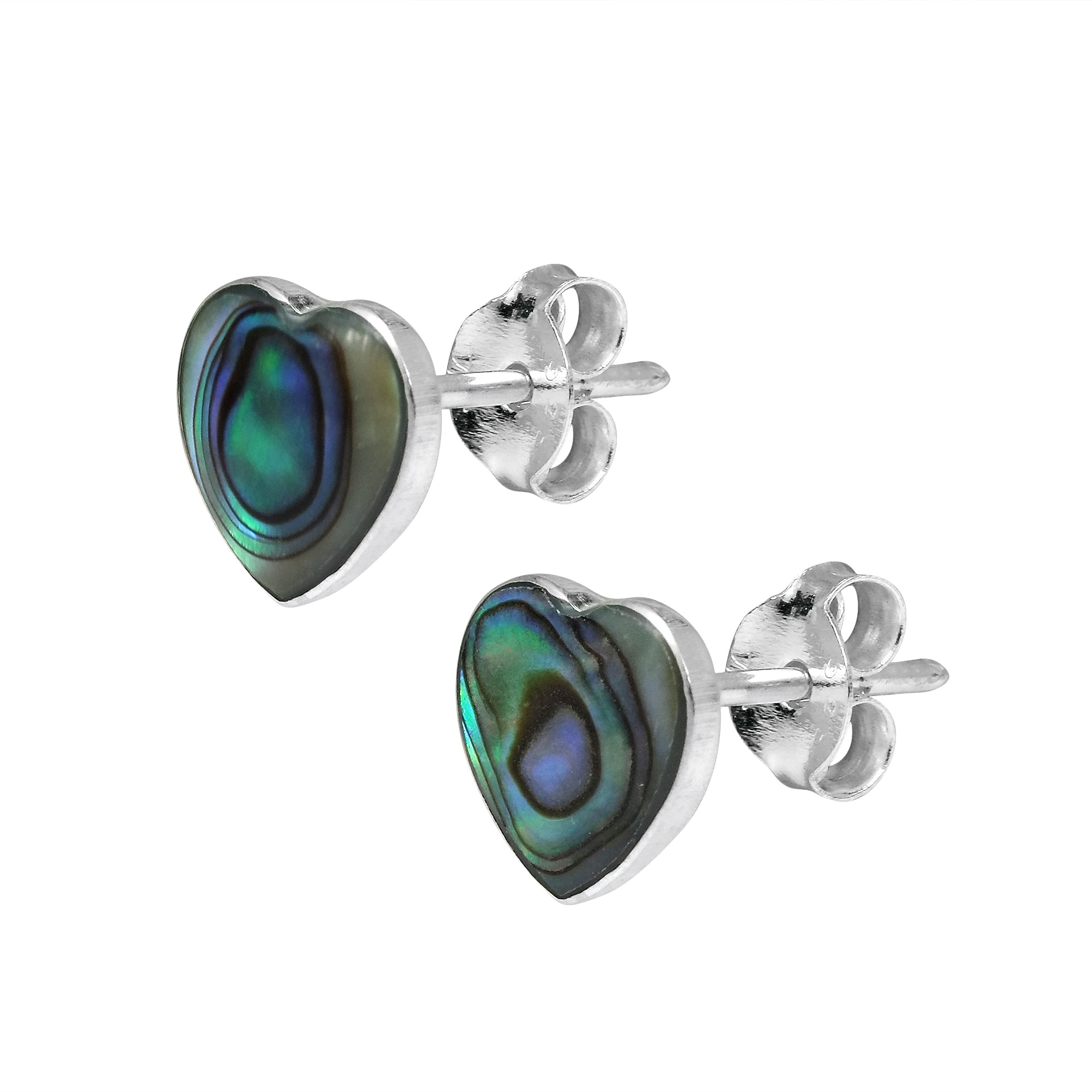 jewelry shell stud earrings silver triangle abalone sterling pin