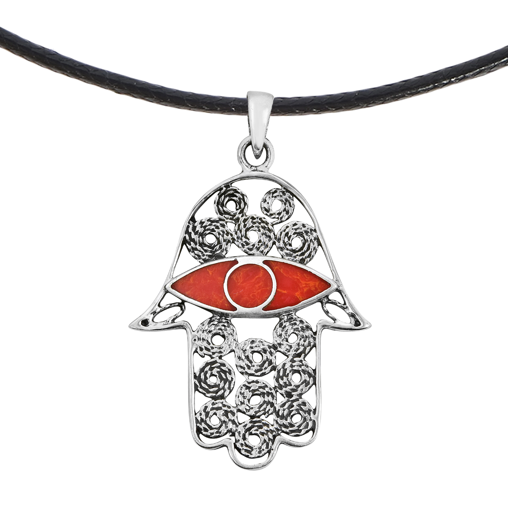 Intricate Hamsa Hand With Red Coral Eye Sterling Silver Cotton Cord