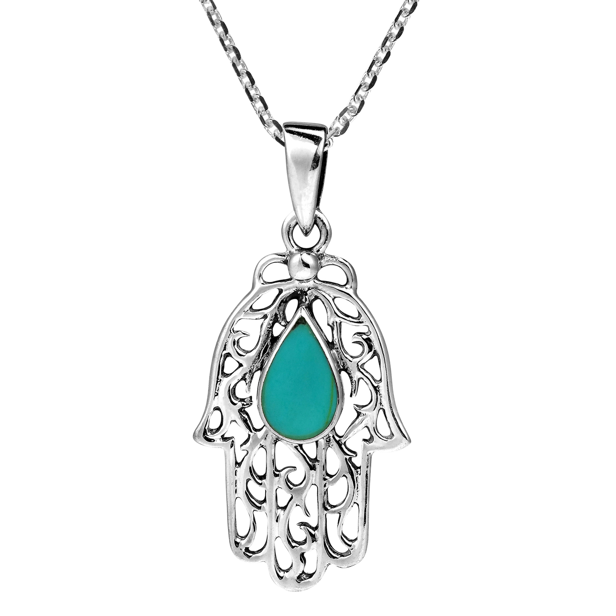 Jewish hamsa hand teardrop sterling silver necklace aeravida the hamsa is an ancient symbol that depicts an open right hand and represents the hand of god in all faiths the hamsa is recognized as a protective buycottarizona Gallery