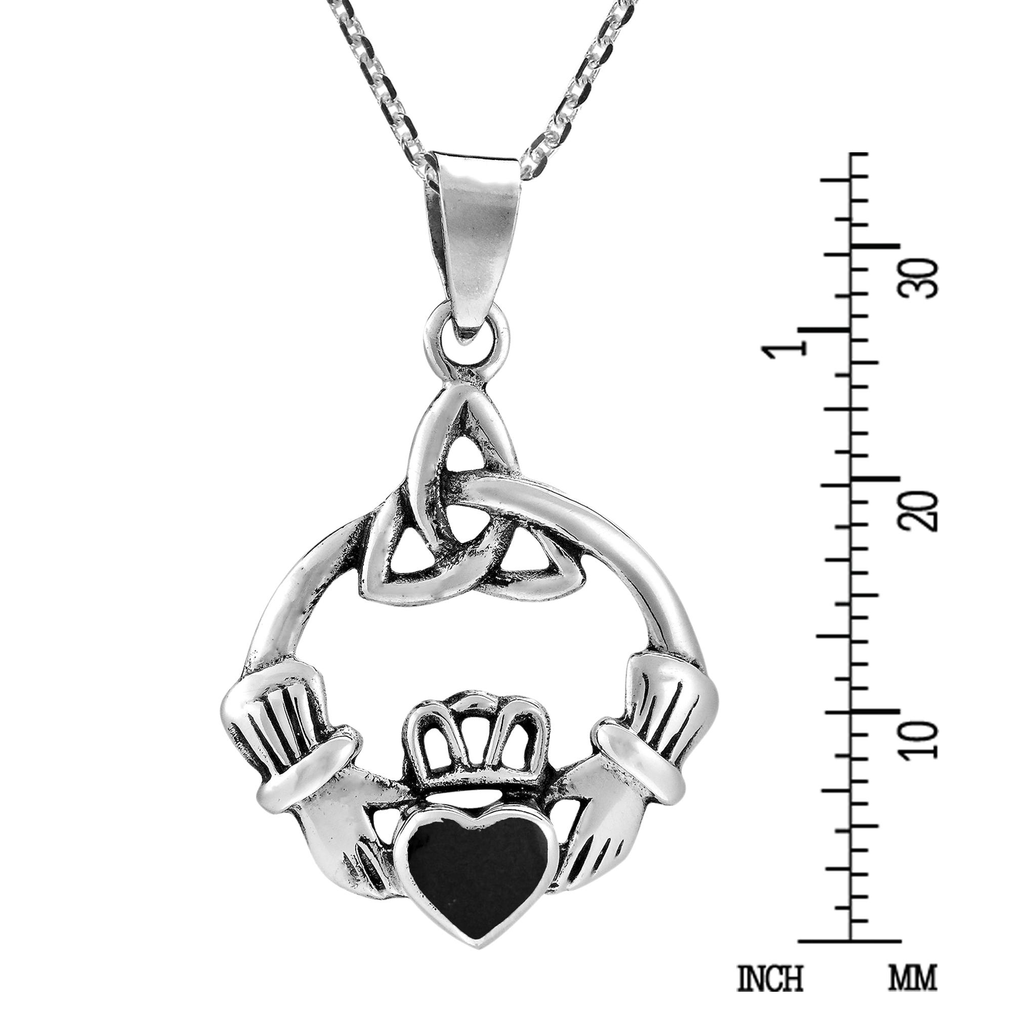 Celtic Trinity Knot Claddagh W Black Onyx Heart Sterling Silver