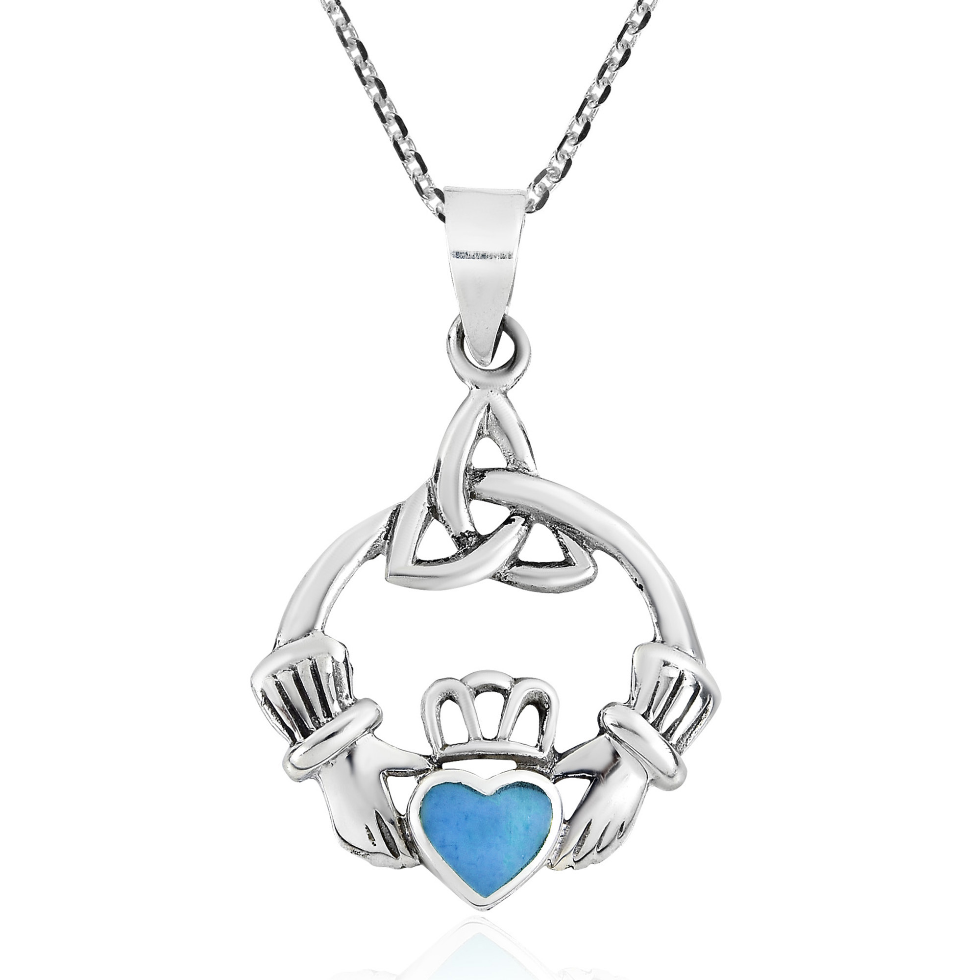 Celtic Trinity Knot Claddagh W Blue Turquoise Heart Sterling Silver