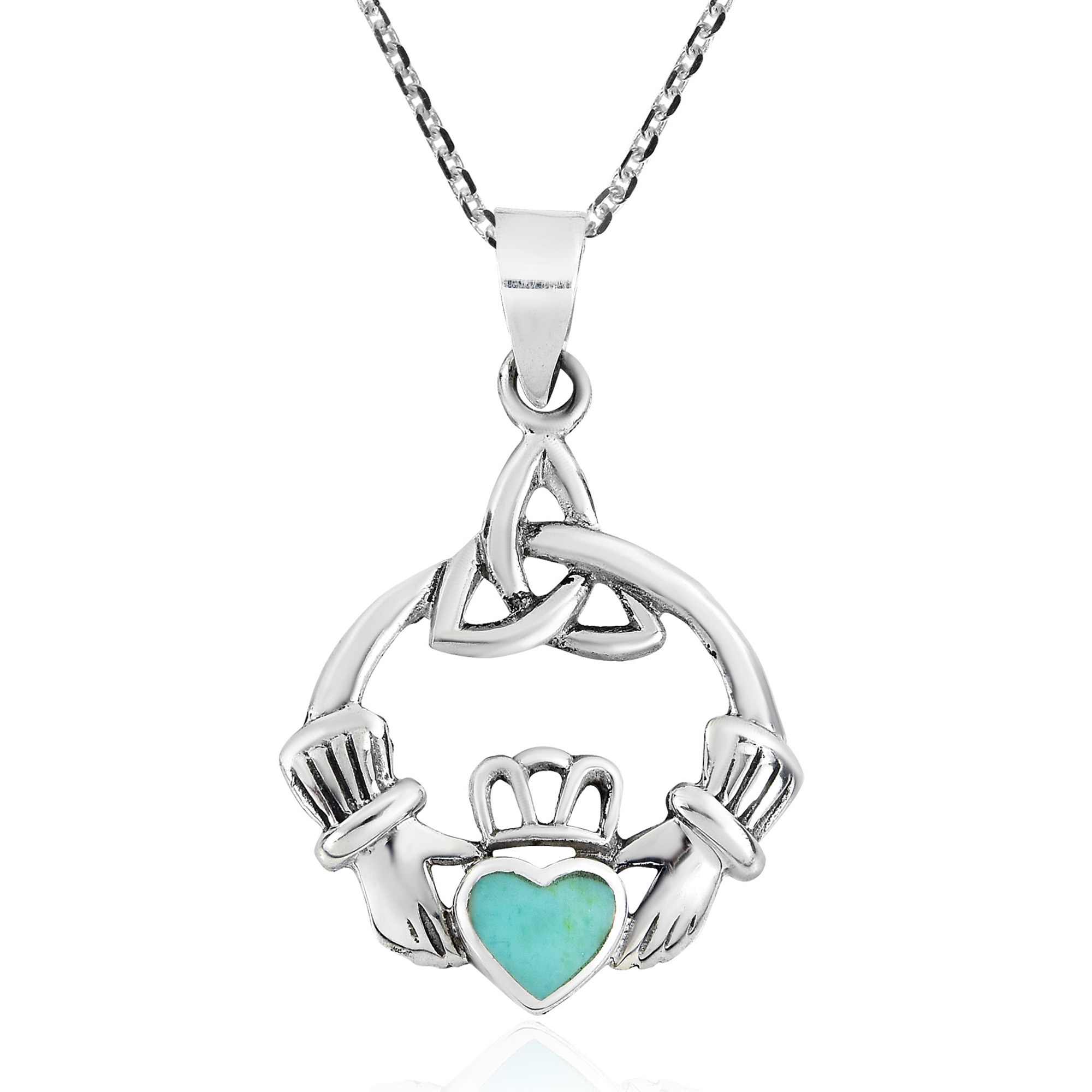 rose and irish product silver gold necklace claddagh sterling
