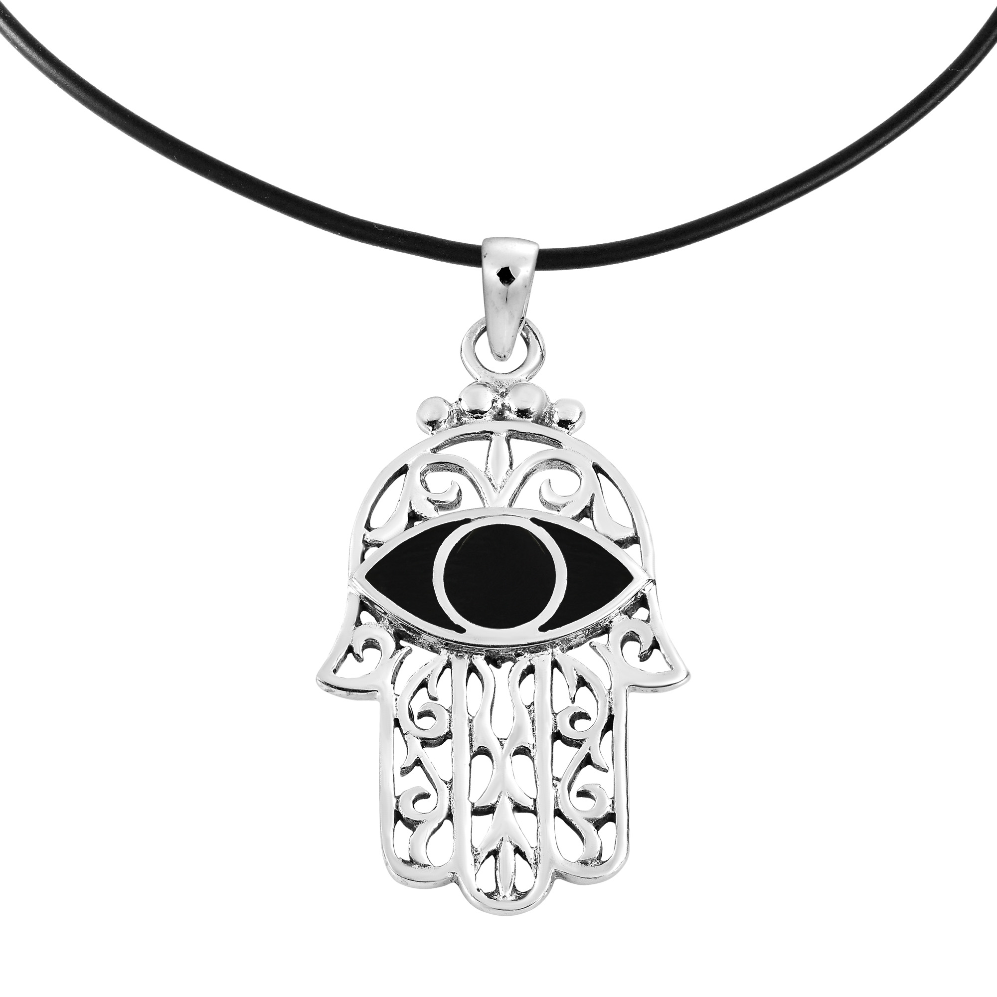 Dainty Hamsa Hand Onyx Inlaid Sterling Silver On Black Necklace