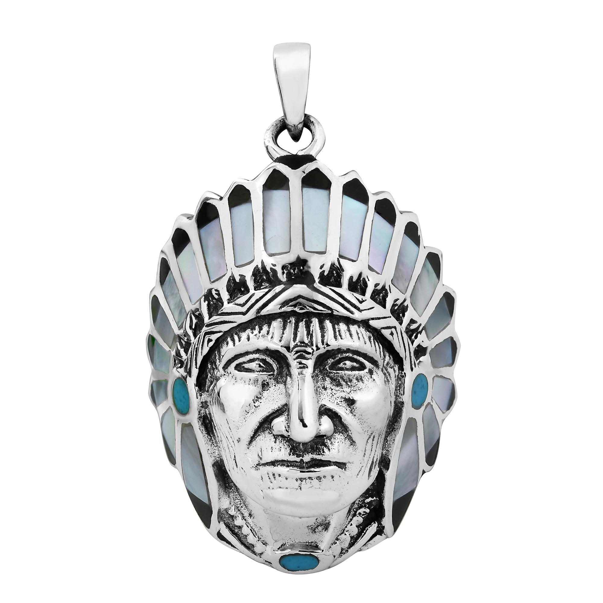 native american indian chief mop 925 silver pendant aeravida