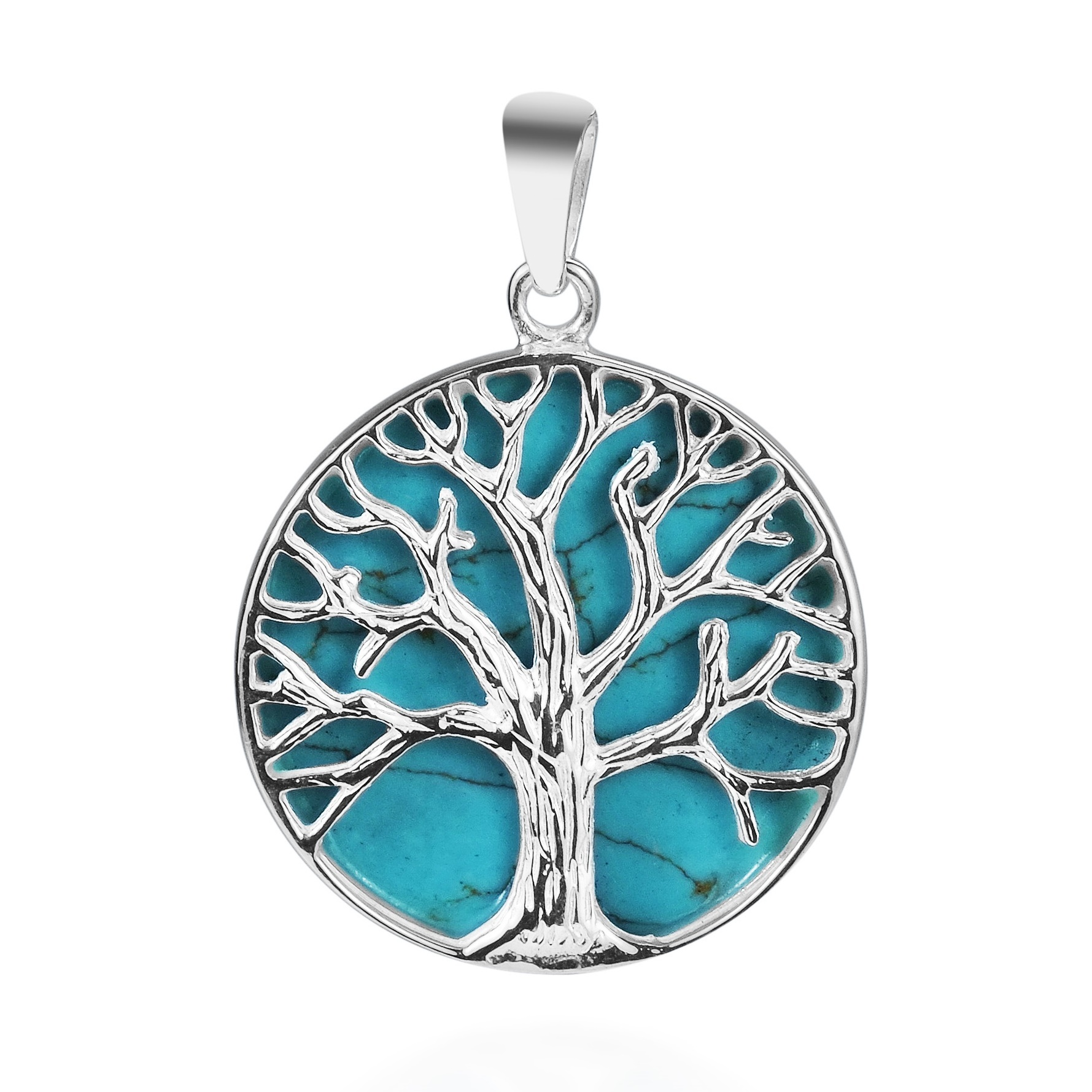 Mystical Tree Of Life Green Turquoise Inlay 925 Sterling