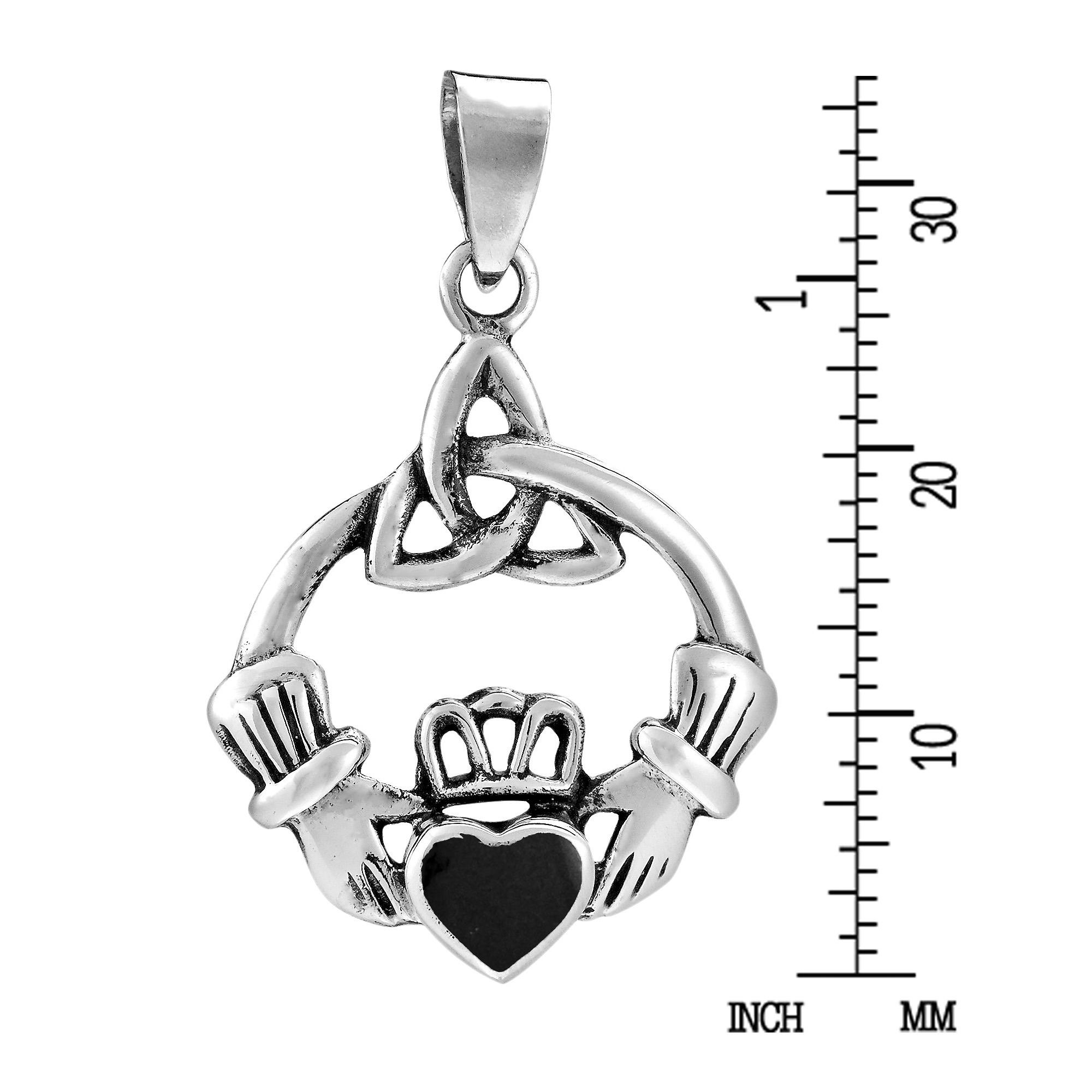 Celtic Trinity Knot Claddagh W Black Onyx Inlay Sterling Silver