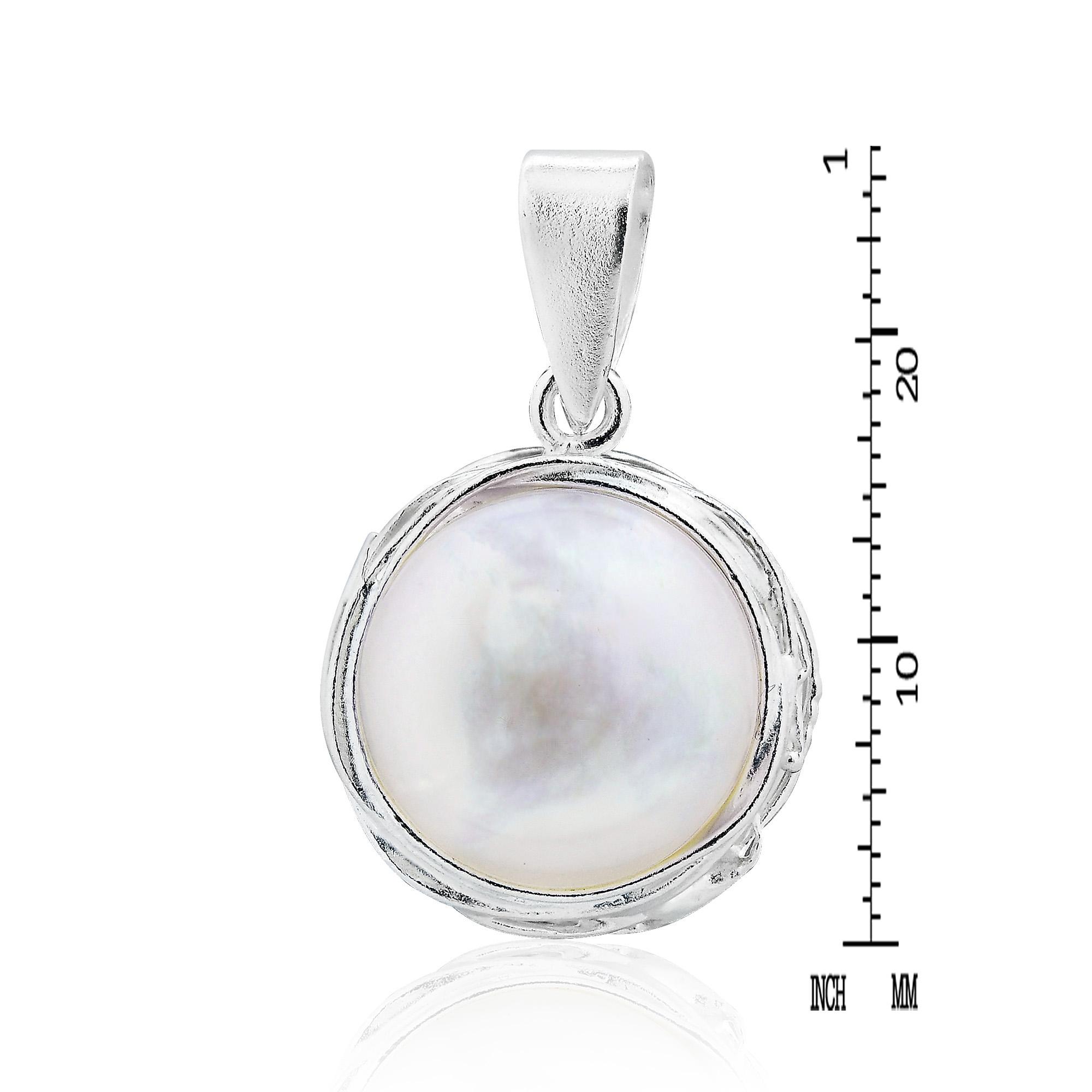 Genuine White Pearl Wire Wrap Around .925 Silver Pendant - AeraVida