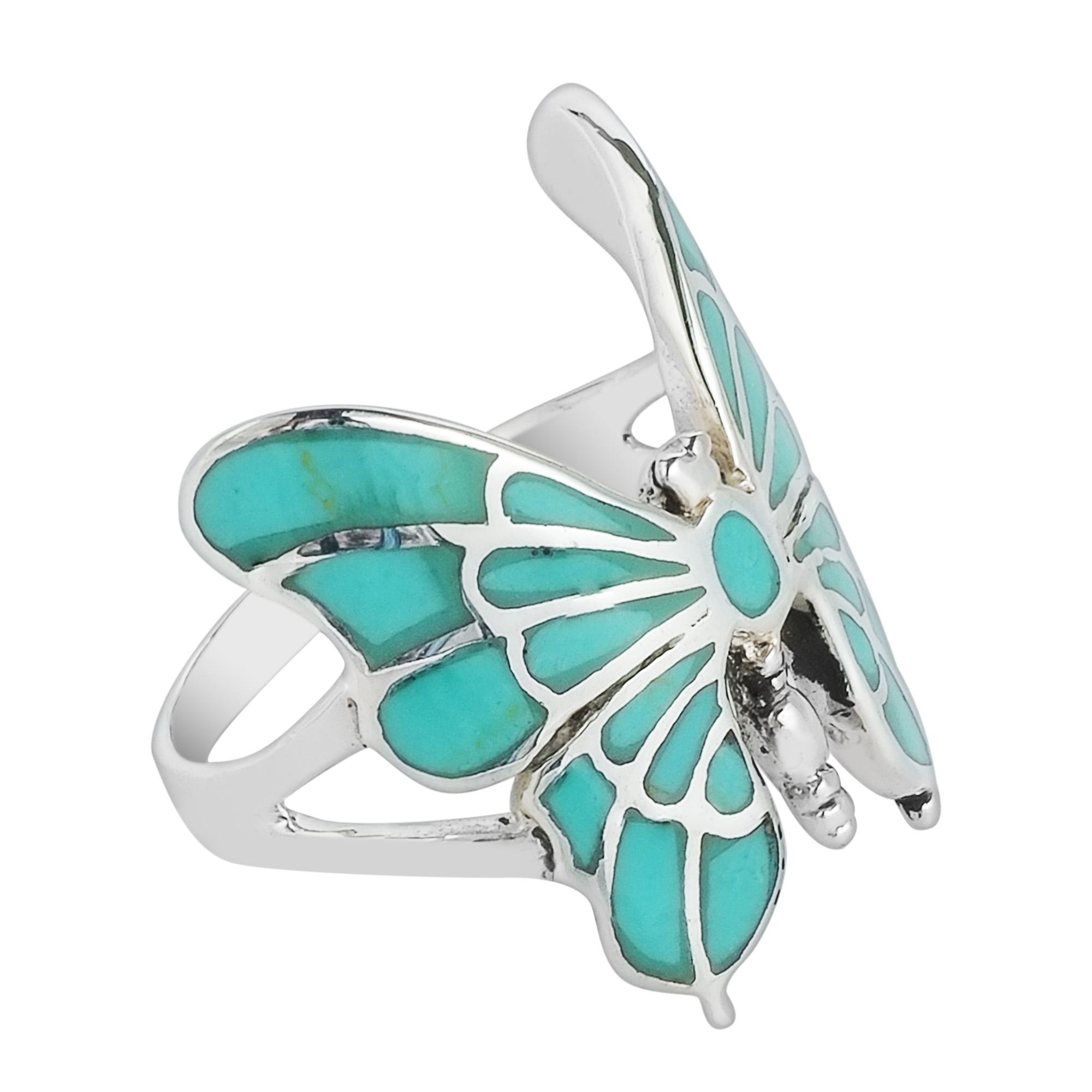 Sterling Silver Turquoise Butterfly Ring