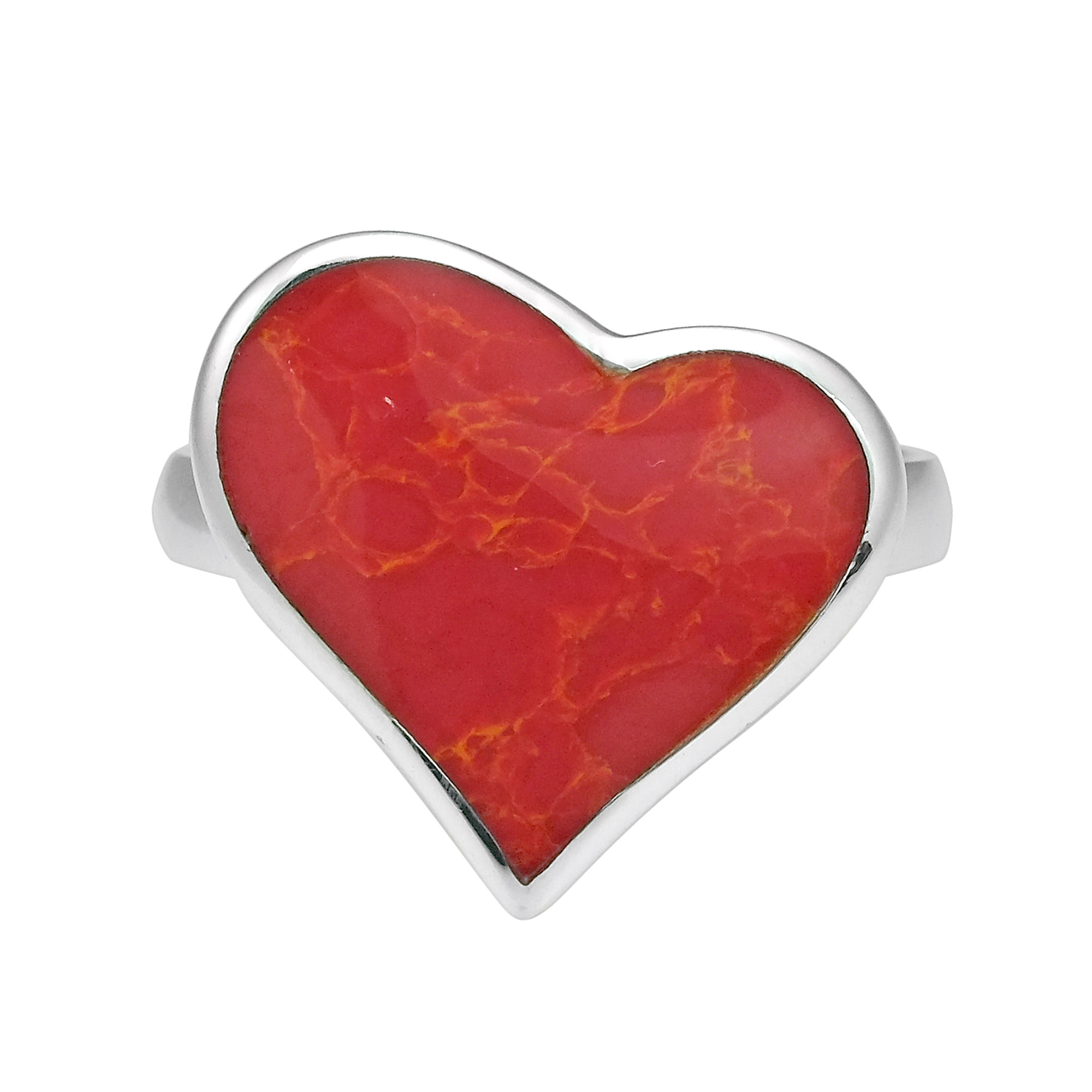 Heart Of Compassion Red Coral Inlay Sterling Silver Ring 6