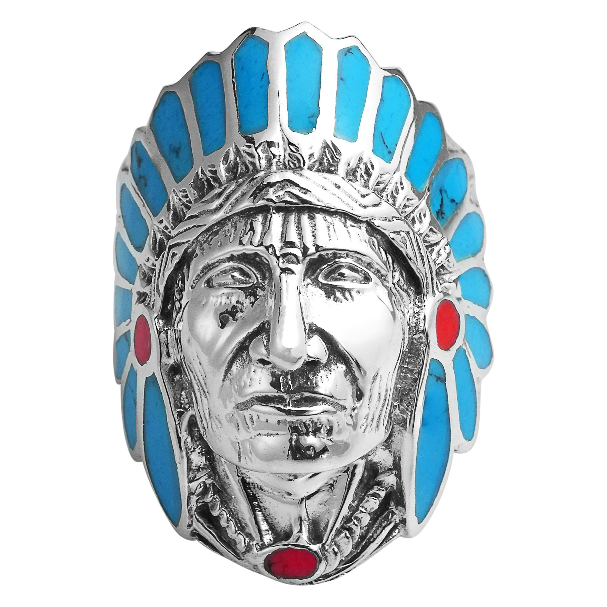 blue accented american indian chief