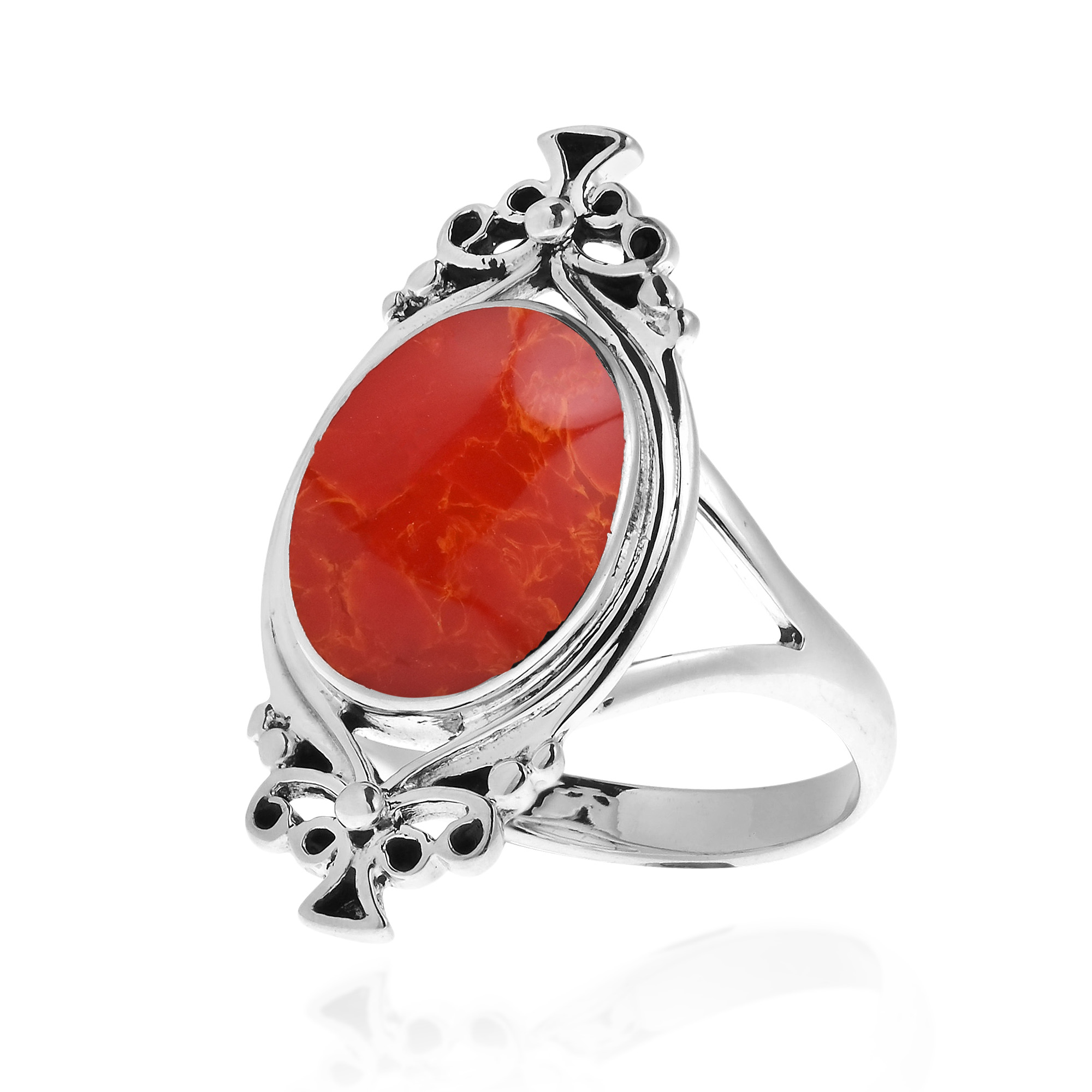 coral vintage style 925 silver ring 7 ebay