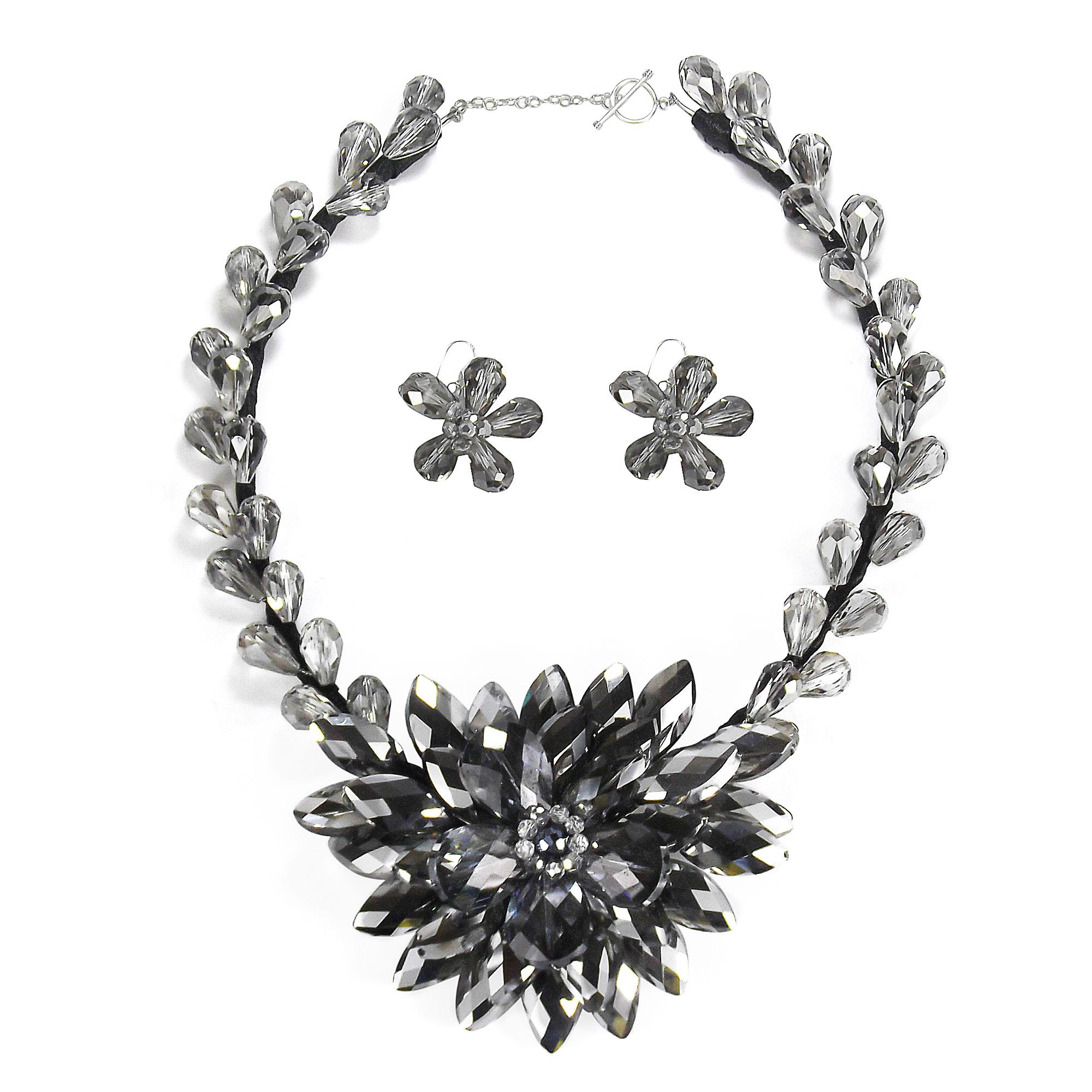 Silver lotus flower bloom dazzling crystals jewelry set aeravida lotus flower bloom dazzling crystals jewelry set product izmirmasajfo Images