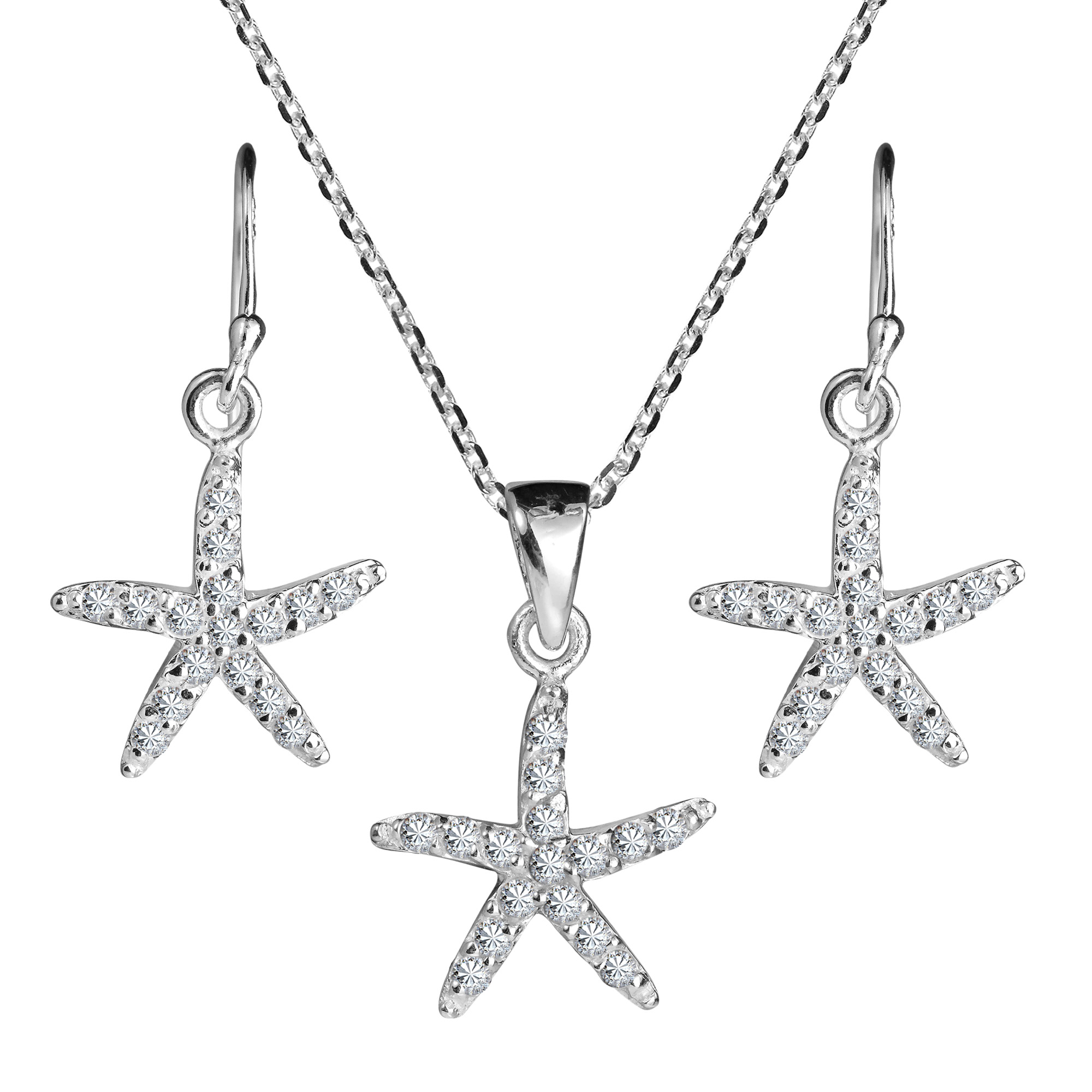 Dazzling Sea Starfish Sparkling CZ 925 Silver Necklace Earrings