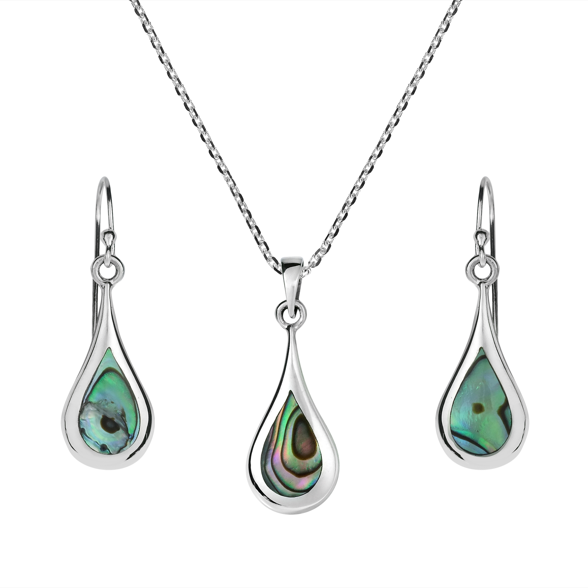 abalone shell teardrop sterling silver jewelry set