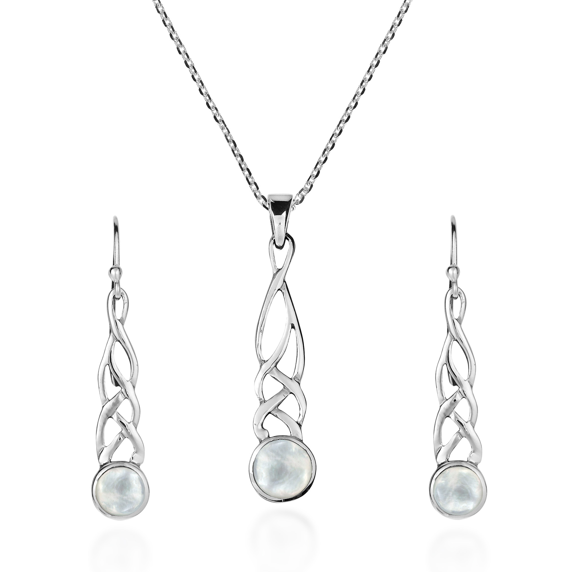 da7a68b3c Celtic Weave White Mother of Pearl Drop Sterling Silver Necklace Earrings  Set